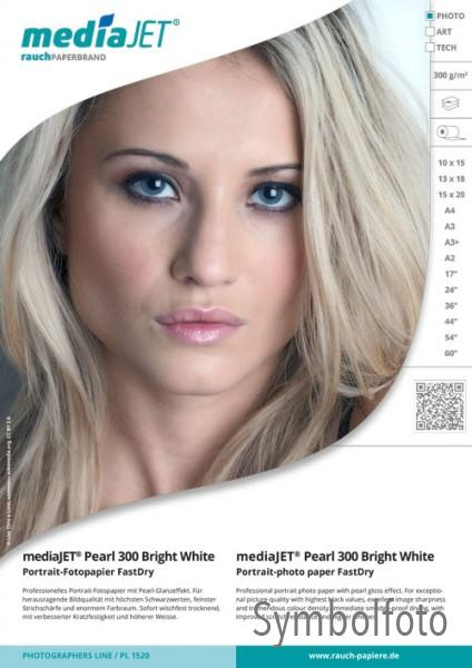 "mediaJET PEARL 300 ""bright white"" Portrait-Photopapier FastDry"