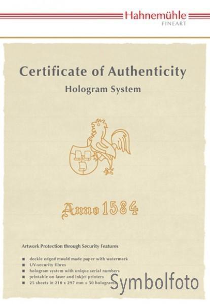 Hahnemühle Echtheitszertifikat 25 Blatt DIN A4 + 50 Hologramme