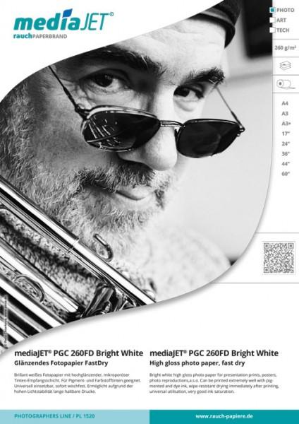 "mediaJET PMC 260FD ""bright white"" Seidenmattes Fotopapier FastDry"