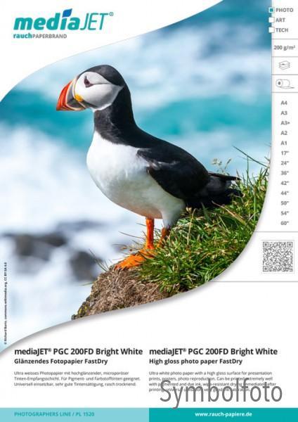 "mediaJET PGC 200FD ""bright white"" Glänzendes Fotopapier FastDry"