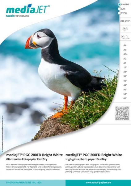 "mediaJET PMC 200FD ""bright white"" Seidenmattes Fotopapier FastDry"